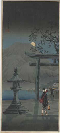 "Takahashi Shotei (1871-1945) |  ""Moon over Lake Chuzenji, Nikko"""