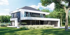 DOM.PL™ - Projekt domu CPT HomeKONCEPT-37 CE - DOM CP1-42 - gotowy koszt budowy Modern Family House, Modern House Plans, Dream Home Design, My Dream Home, Contemporary Architecture, Architecture Design, 2 Storey House Design, Modern Farmhouse Exterior, Home Fashion