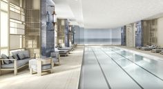 Pool inside the Four Seasons Hotel New York Downtown.