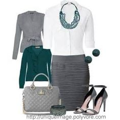 Work Outfits | Gray & Turquoise