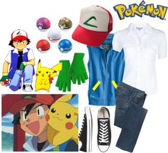 """Ash Ketchem costume (pokemon trainer)"" by yeah-boy-and-doll-face ❤ liked on Polyvore"