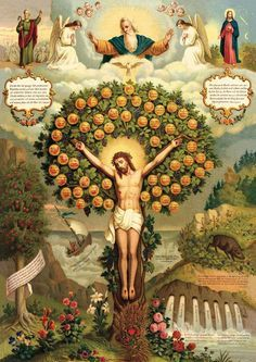 Jesus, the tree of life! Image Jesus, Jesus Christ Images, Jesus Art, Religious Images, Religious Icons, Religious Art, Catholic Prayers, Catholic Art, Miséricorde Divine
