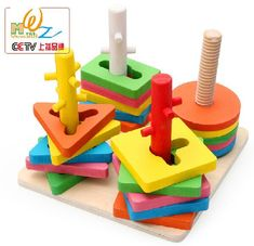 Wooden Toy Gift Montessori Early Learning Four Pillar Block Shape Match Game Set