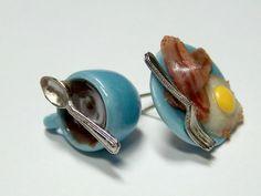 Miniature Food Jewelry Breakfast Earrings in Blue by kawaiibuddies, $25.00