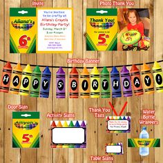 Crayola Birthday package Craft Birthday Party by JRCreativeDesigns