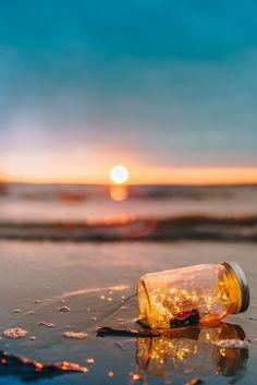 fairy lights, beach, bottle