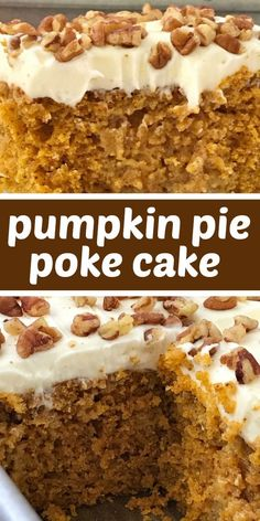 Pumpkin pie poke cake is a delicious pumpkin cake, soaked in a pumpkin spice sweetened condensed milk, and topped with a whipped cream cheese frosting. Pumpkin Cake Recipes, Poke Cake Recipes, Pumpkin Dessert, Oreo Dessert, Pumpkin Spice Cake, Pumpkin With Cake Mix, Pumpkin Poke Cakes, Easy Pumpkin Cake, Spice Cake Mix Recipes