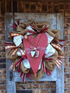 Rustic Burlap Valentine's Day Wreath by FosterCreativity on Etsy, $85.00