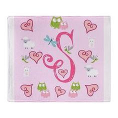 Pinky Initial - S Throw Blanket> Copy of Pinky Initials - B> DrapeStudio -  fun whimsical design filled with owls,bunny rabbit, sheep,dragonfly caterpillar and pink hearts on a soft pink background; in our shop www.cafepress.com/drapestudio; matching organic cotton blankets www.etsy.com/shop/drapestudio; visit our main site for more personalized gift ideas www.drapestudio.com
