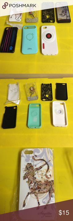 Bundle of seven IPhone 5s cases Seven Barely used IPhone 5s cases all different brands and designs. They include a Sagittarius, 3D Rose,paw print, I glow, white pop out stand, Rose sketched and halo gram design. All in great used condition Accessories Phone Cases