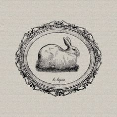 Easter Bunny French Rabbit Hare Le Lapin French Script Printable Digital Download for Iron on Transfer Fabric Pillows Tea Towels DT362 on Etsy, $1.00