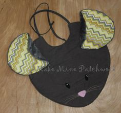 Mouse Face Bib for Baby Girl Grey Cotton by MakeMinePatchwork