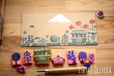 Lovely stamps Ishtar Olivera has made with inspirations from Mihoko Seki wrapping paper she purchased from UGUiSU! So so lovely!!