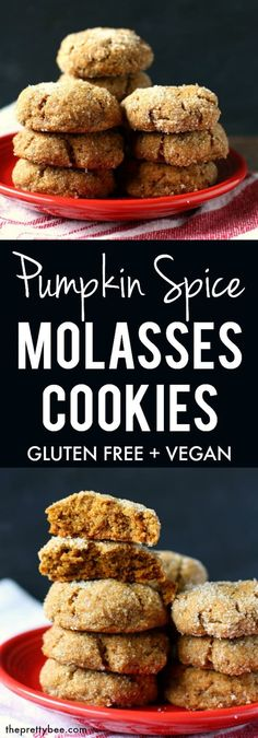 Chewy, spicy, and so tasty, these gluten free pumpkin spice cookies are so easy to make and even easier to eat! Perfectly soft and chewy gluten free pumpkin spice molasses cookies are a wonderful treat for fall! Cookies Gluten Free, Gluten Free Christmas Cookies, Easy Vegan Cookies, Gluten Free Christmas Recipes, Gluten Free Thanksgiving, Vegetarian Thanksgiving, Gluten Free Treats, Pumpkin Spice Cookies, Molasses Cookies