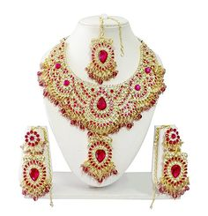 Amazon.com: Indian Bollywood Jewelry Set Ethnic Gold plated Necklace set with Earrings and Maang Tikka JS9007 Hot Pink (Rani): Clothing