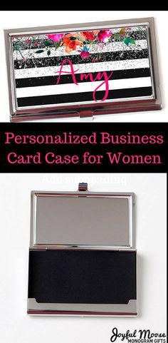 Pretty floral business card case can be personalized. This is a hand made quality item crafted in the Pacific Northwest. #ad #ladyboss