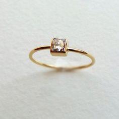 Princess Diamond Ring - Simple Engagement Ring - Square Diamond Ring - 18k Solid Gold