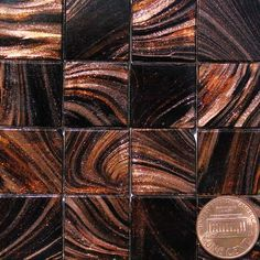 Henna Black P36 Metallic Glass Mosaic Tiles