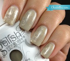 Chickettes.com Gelish Medieval Madness with Subtle Floral Stamp