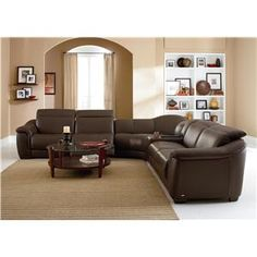 Reclining sofa, Reclining sectional sofas and Brown leather sectionals
