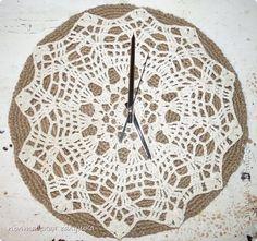 Интерьер Поделка изделие Вязание крючком Вязаные часы  Пряжа фото 1