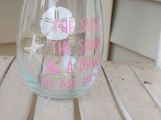 Stemless Wine Glass With The Sun The Sand & A by BlueFeelCreations