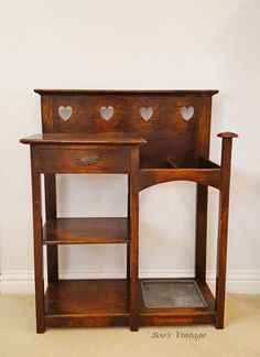Antique Edwardian Arts & Crafts Narrow Walking Stick/Umbrella Stand with Glove Drawer, Solid Wood Oak with Hearts, Small Console Table Small Console Tables, Entryway Tables, Country Hallway, Small Corner, Solid Oak, Arts And Crafts, Glove, Antiques, Drawer