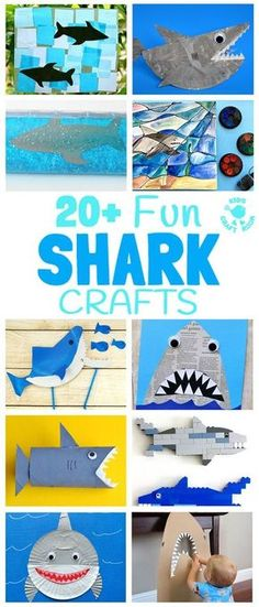 20 SHARK CRAFTS to keep kids busy all Summer! Fun Shark Crafts, shark art and shark activities for kids of all ages. Fantastic shark week crafts for shark fans. Summer Crafts For Kids, Summer Activities For Kids, Easy Crafts For Kids, Toddler Crafts, Preschool Crafts, Fun Crafts, Art For Kids, Summer Fun, Shark Week Crafts