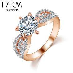 17 키로메터 로맨틱 웨딩 크리스탈 반지 골드 컬러 큰 지르콘 여성 패션 보석 반지 전체 크기 Anillos
