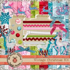 HUGE Digital Mega Kit!  Ribbons, Snowflakes, 16 12x12 Textured Papers, Buttons, Glitter, Ribbons and more!  INSTANT DOWNLOAD!