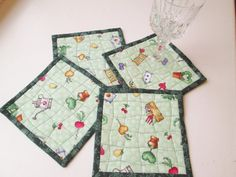 Spring Garden Quilted Fabric Coasters  Set of by MoonDanceTextiles