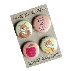 Fantastic Mr. Fox, Fantastic Mr. Fox magnet set, Wes Anderson, Wes Anderson badges