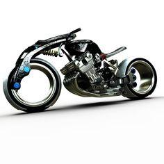 """Lo-rider par greg """"Model de moto type Lo-rider, avec moteur 1000 CBX et roues sans moyeux. Dessiné sous SolidWorks et rendu sous Photoview 360. Environ 6H de travail avec rendu."""" CAO, CAD, 3D, Lynkoa"""