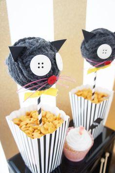 Yarn Ball Cats Placed in Goldfish Snacks from a Kitty Cat Birthday Party via Kara's Party Ideas   KarasPartyIdeas.com (19)
