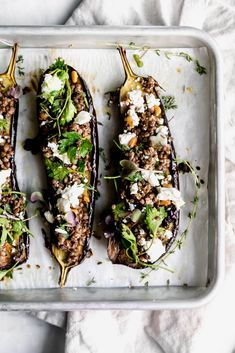 Nutritious Snack Tips For Equally Young Ones And Adults Roasted Baby Eggplant With Goat Cheese And Lentils Is A Simple, Hearty, And Satisfying Dish You'll Want To Make Every Weeknight This Winter Thyme Recipes, Vegetable Recipes, Chicken Recipes, Sausage Recipes, Potato Recipes, Clean Eating Snacks, Healthy Eating, Cooking Recipes, Healthy Recipes