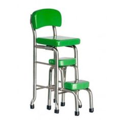 """AZTEC 1"""" Scale Dollhouse Miniature Furniture: Kitchen Stool With Step - Green AZT5962 717425059628 B00NUJ1LZG"""