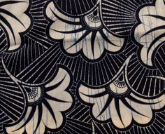 Detail of an indigo fabric with fans from Japan