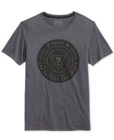 Guess Men's Medal Graphic-Print Logo T-Shirt  - Gray XXL