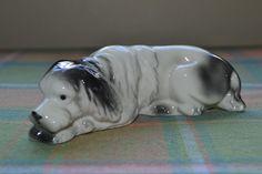 Vintage German Porcelain Sheep Dog Figure Laying Down Resting #13168