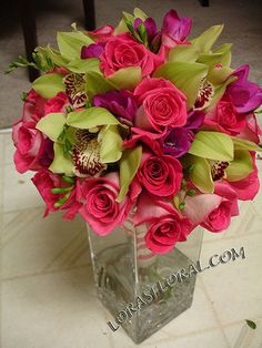 Flowers, Pink, Bouquet, Roses, Orchids, Tropical