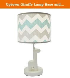 Uptown Giraffe Lamp Base and Shade by The Peanut Shell. The Peanut Shell Uptown Giraffe Nursery Collection features a tailored contemporary design with a combination of unique graphic prints in a fresh color-way of light and dark gray, crisp white, and minty aqua. This collection will create a stylish and comfortable nursery for your baby. The Uptown Giraffe Lamp is one of the nursery decorating accessories from this colletion, featuring an adorable giraffe stand with a fun chevron print…
