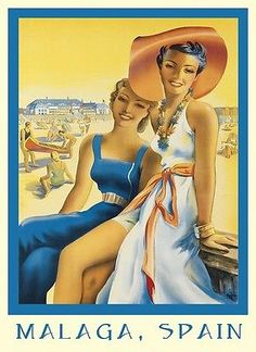 Fashion Ladies Girls Beach in Malaga Spain Travel Tourism Europe Vintage Poster Repro X Image Size. We Have Other Sizes Available! Vintage Beach Posters, Vintage Travel Themes, Retro Illustration, Illustrations, Malaga Spain Beach, Tourism Poster, Travel And Tourism, Travel Ads, Spain Travel