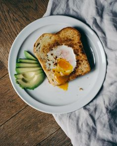 Egg-in-a-hole toast and avocado