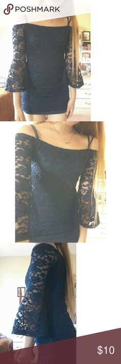 New Navy Blue Dress Brand new without tag Size small  Lace design Is lined except for the sleeves The sleeves flare out at the end This is something Camila cabello would wear Off the shoulder design Adjustable straps Bodycon dress Dresses Mini