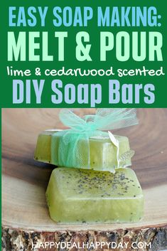 Easy Melt & Pour Soap Recipes: Lime and Cedarwood Soap with Chia Seeds. This has a Free Printable Soap Labels that you can wrap around your bars before giving as a gift! These are WAY easier to make than you think and make wonderful gifts! #meltandpoursoap #limeandcedarwood #freeprintablesoaplabel Soap Making Recipes, Soap Recipes, Cedarwood Essential Oil, Essential Oils, Melt And Pour, Soap Labels, Be Natural, Frugal Tips, Home Made Soap