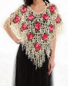 Wonderful Poncho       Flower Square Motif    Beautiful Yarn       More …