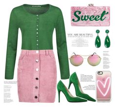 """Pink & Green 💗 💚"" by xanniee on Polyvore featuring Edie Parker, Seasalt, Boohoo, V Italia, Casetify and Susan Hanover"