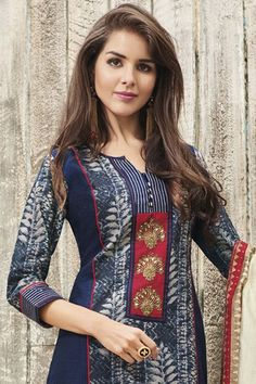 Picture of Appealing blue suit with red detailing Neck Designs For Suits, Dress Neck Designs, Stylish Dress Designs, Designs For Dresses, Stylish Dresses, Blouse Designs, Churidar Designs, Kurta Designs Women, Kurta Neck Design