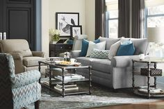 Alex Queen Sleeper by Bassett Furniture. Includes two accent pillows.