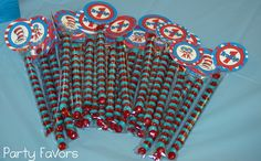 Cute Party Favor Ideas. It has red and blue m&m's in the packages...